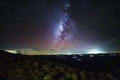 A galáxia da Via Látea com terra da pedra do botão é opinião de Lan Hin Pum do nome imagens de stock