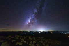 A galáxia da Via Látea com terra da pedra do botão é opinião de Lan Hin Pum do nome foto de stock royalty free