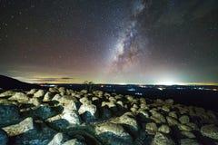 A galáxia da Via Látea com terra da pedra do botão é opinião de Lan Hin Pum do nome foto de stock