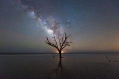 Galáxia da Via Látea na praia da baía da Botânica em South Carolina Fotos de Stock