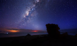 Galáxia de Milkyway com céu noturno azul Imagem de Stock Royalty Free