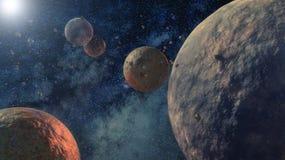 Galáxia e planetas ilustração do vetor