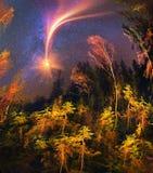 Galáxia e queda Fotos de Stock Royalty Free