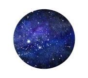 Galáxia estilizado ou céu noturno do grunge com estrelas Fundo do espaço da aquarela Ilustração do cosmos no círculo ilustração stock