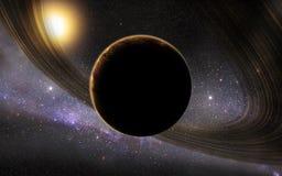 Sistema solar com planeta & a galáxia estrangeiros ilustração do vetor