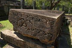 Galão Potha ou livro de pedra na cidade antiga de Polonnaruwa, Sri Lanka Fotos de Stock Royalty Free