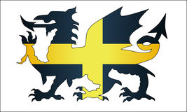 Galês Dragon Saint David Flag ilustração royalty free