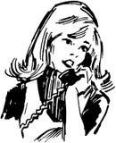 Gal στο τηλέφωνο απεικόνιση αποθεμάτων