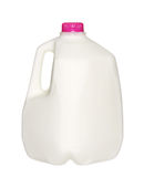 Gal.et mjölkar flaskan med det rosa locket som isoleras på vit Royaltyfri Fotografi