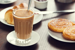 Galão or Latte with European Pastries in a Cafe Royalty Free Stock Photo