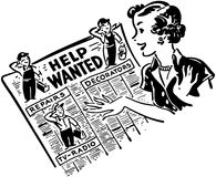 Gal Reading Help Wanted Ads Stockbild