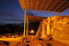 Gal Vihara寺庙,菩萨石雕象,古老皇家住所,联合国科教文组织世界遗产名录站点废墟  库存图片