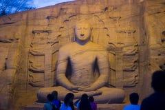 Gal Vihara & x28; 佛教寺庙在Nissankamallapura& x29; 免版税库存图片