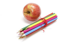 Gala Apple and Colour pencils Royalty Free Stock Photo