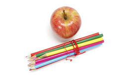 Gala Apple and Colour Pencils Royalty Free Stock Images