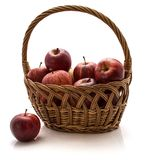 Gala apples in basket isolated on white background Royalty Free Stock Photo
