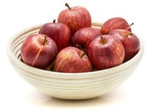Gala apples in bowl isolated on white background Stock Photo