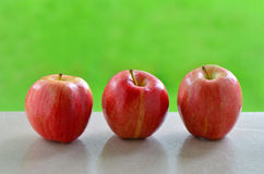 Gala apples. Delicious Gala apples on windowsill with vibrant green background Royalty Free Stock Photography