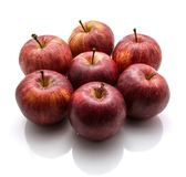 Gala apples  on white background. Gala apples whole folded in flower  on white background Stock Photo