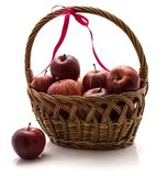 Gala apples in basket isolated on white background Stock Photography