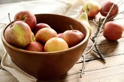Gala apples in a wooden bowl on wooden background. Children favo. Rite snack fruit with mild and sweet taste Stock Image