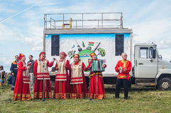 Gala concert in honor of the 536 th anniversary of the liberation of Russia from Mongol-Tatar yoke in the Kaluga region. Reconstruction of military operations stock images