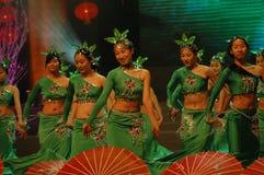 Gala de festival de printemps du thé vert girl-2007 Jiangxi images stock