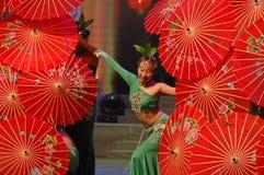 Gala de festival de printemps de la fille dance-2007 Jiangxi de thé vert image libre de droits