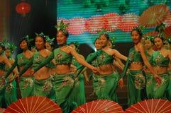 Gala de festival de printemps de la fille dance-2007 Jiangxi de thé vert photographie stock libre de droits