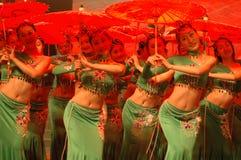 Gala de festival de printemps de la fille dance-2007 Jiangxi de thé vert photos libres de droits