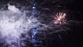 Gala fireworks in the night sky stock video
