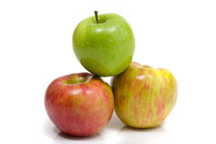 Gala and Granny Smith apples. Isolated on white Royalty Free Stock Images