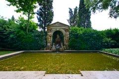 Gala pubol. Pool at garden at Gala Castle at Pubol, Girona, Spain Royalty Free Stock Images