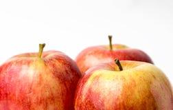 Gala royal de trois pommes rouges Photographie stock libre de droits