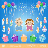 Gala set for birthday party girl and boy. Stock Photography