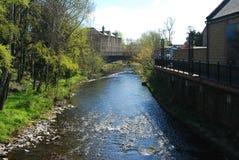 Gala Water flowing through Galashiels. Gala Water flowing in Galashiels, scottish Borders Royalty Free Stock Image