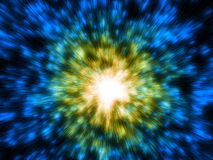 Galactic blue and yellow bright explosion Royalty Free Stock Photo