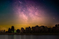 Galactic Center. The Galactic Center as seen from the shore of the river Rhine at Mannheim in Germany stock photos
