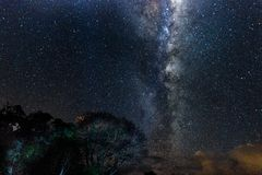 Galactic Centre - Milky way - Tarawera. The galactic centre is easy to see on the outskirts of Rotorua thanks to the low light pollution royalty free stock photos