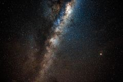 Galactic Centre with Mars. The milky way seen from Lake Tarawera with Mars to the right hand side stock images