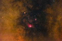 Galactic Core. The central part of the Milky Way with the Lagoon Nebula and the Trifid Nebula in the constellation Sagittarius photographed from Mannheim in stock photos