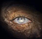 Galactic Eye. Giant eye in center of galaxy Stock Photo