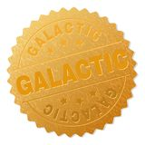 Golden GALACTIC Award Stamp. GALACTIC gold stamp award. Vector gold award with GALACTIC label. Text labels are placed between parallel lines and on circle stock illustration