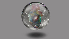 Galactic Heart. Heart with galaxy surrounded by stars in crystal sphere Royalty Free Stock Images
