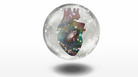 Galactic Heart. Inside Crystal Sphere Royalty Free Stock Photo