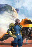 Galactic hero and spaceship. 3D render science fiction illustration royalty free illustration