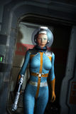 Galactic heroine in a spaceship. 3D render science fiction illustration stock illustration