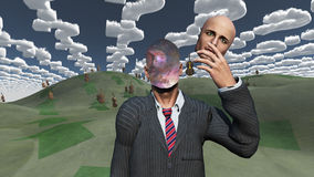 Galactic Man. Man removes face shows inner space in landscape with question shaped clouds and many cellos Stock Images