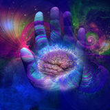 Galactic Mind. Human Brain and hand with swirling lines Stock Photography