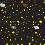 Galactic Seamless Pattern. Seamless background of stars, planets and galaxies over black Stock Photos